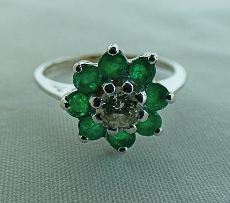 a0bc1e899 Emerald Flower ring with Diamond .33tw in 14k white gold $895, EST1111