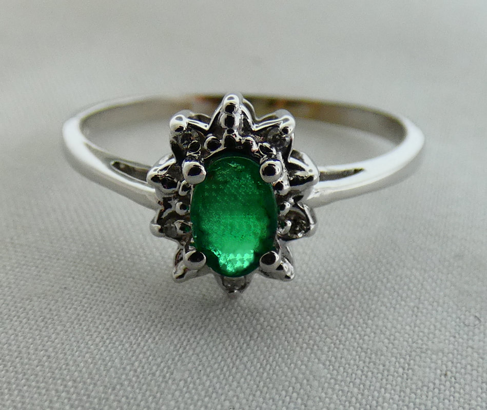 a4061a27d 14k White Gold Emerald & Diamond Ring E=.45ct D=.02tw EST1326 $395.00