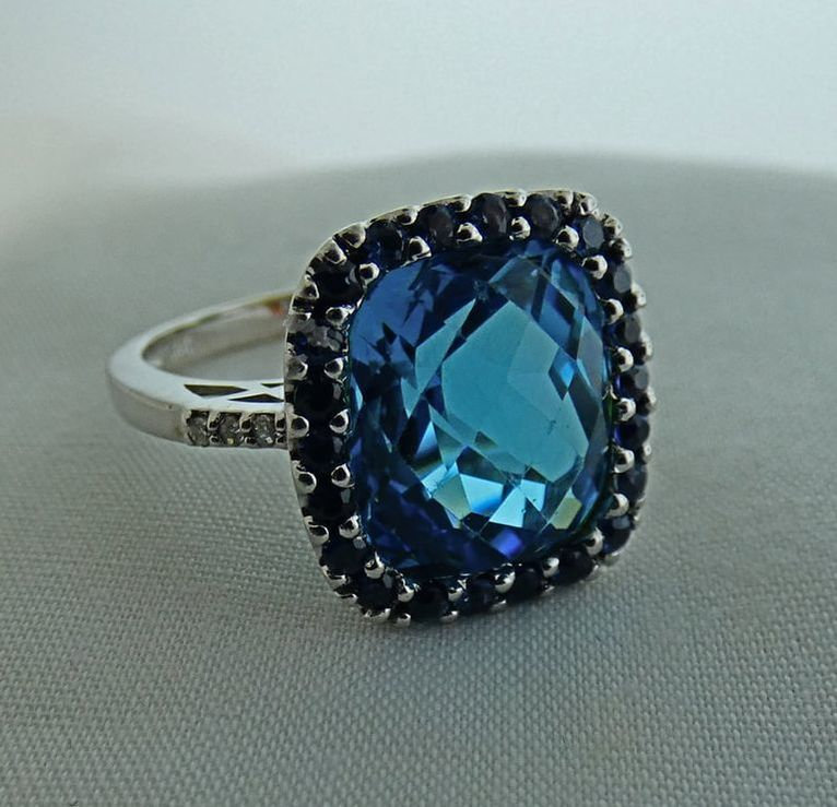 d190e84f2 Blue Topaz & Saphire Fashion Ring in 14k White Gold D= .04tw EST1196, $995