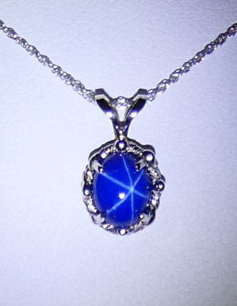 b70217984 14k White Gold Synthetic Star Sapphire Necklace EST1270 $395.00
